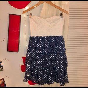 Blue and White Polka Dot Dress